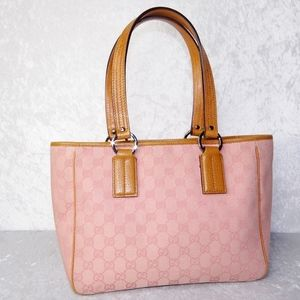 Gucci Leather GG Monogram Canvas Pink Tote Bag
